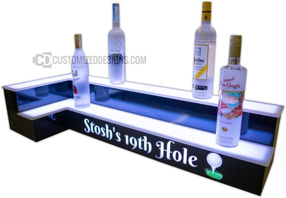Golf Themed 2 Tier Corner Bar Shelving