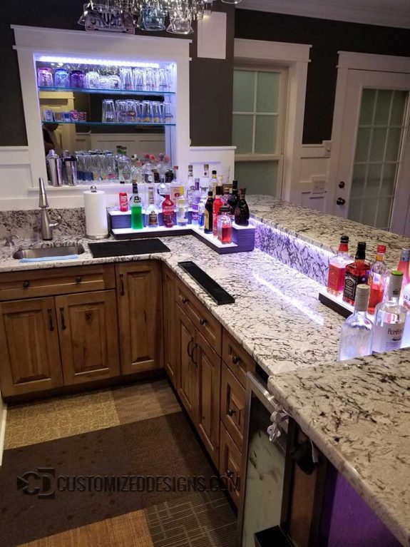 2 Tier Low Profile Home Bar Corner Shelving w/ Ebony Wood Finish