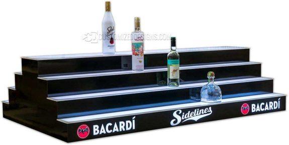 4 Tier 2 Sided Island Liquor Display w/ Bacardi Branding