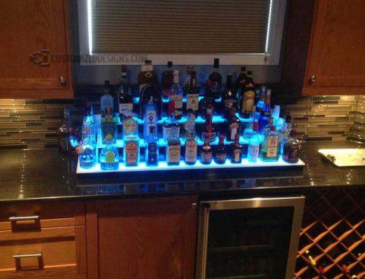 4 Tier Home Bar Bottle Shelf With lights
