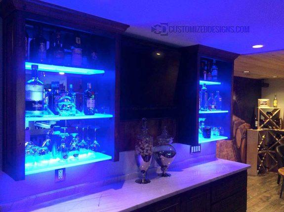 Lighted Cabinet Bar Shelves