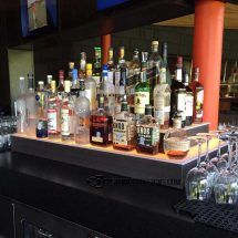 Wrap Style Commercial Back Bar Display with Sable Wood Finish