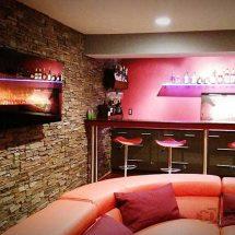 Contemporary Home Basement Bar w/ LED Bar Shelving