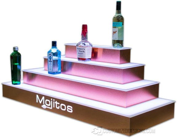 4 Tier Wrap Lighted Bar Shelving w/ Brushed Copper Finish