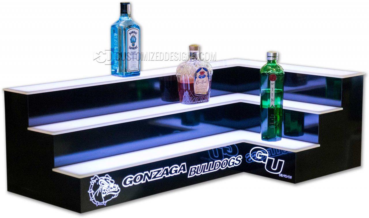 3 Tier Corner Bar Shelving w/ Two Sided Logo Gonzaga Bulldogs