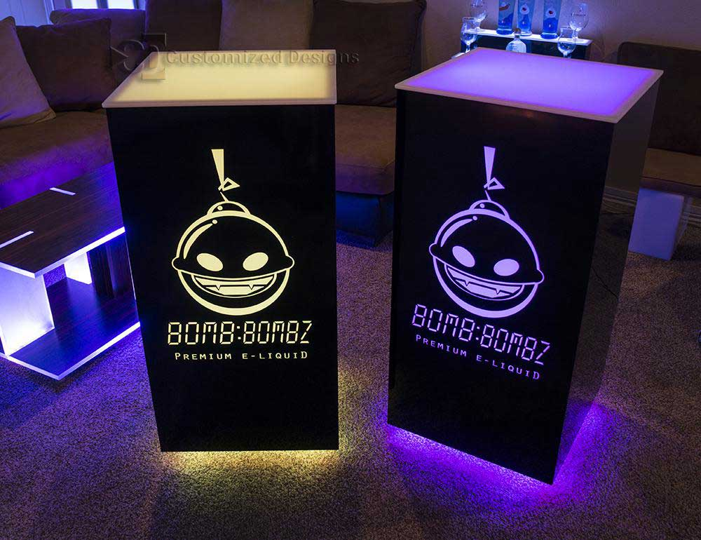 Cubix High Boy Tables w/ Lighted E-Liquid Logos