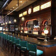 Custom Back Bar with Raised Liquor Displays