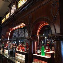 Custom Back Bar with Raised Bar Shelves