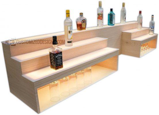 "Custom Raised Bar Shelving w/ Storage & POS System Opening - 8"" High Storage"