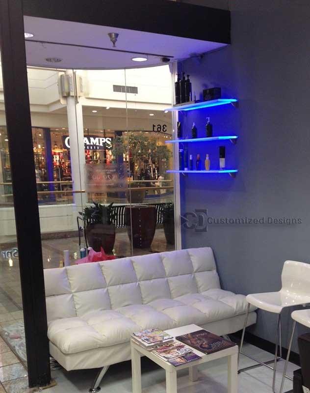 LED Shelving Displaying Salon Hair Products