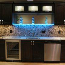 Modern Home Bar w/ Lighted Shelving