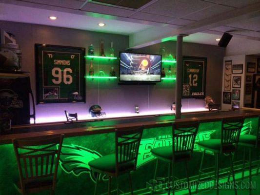 Eagles Themed Basement Bar w/ Lighted Shelves