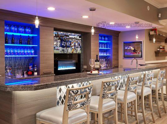Custom Home Back Bar with LED Shelves