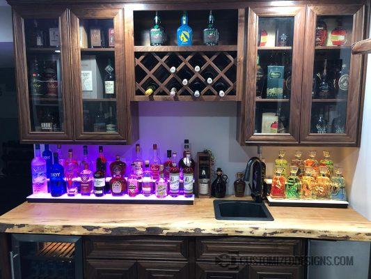 Home Bar with Low Profile Liquor Shelves