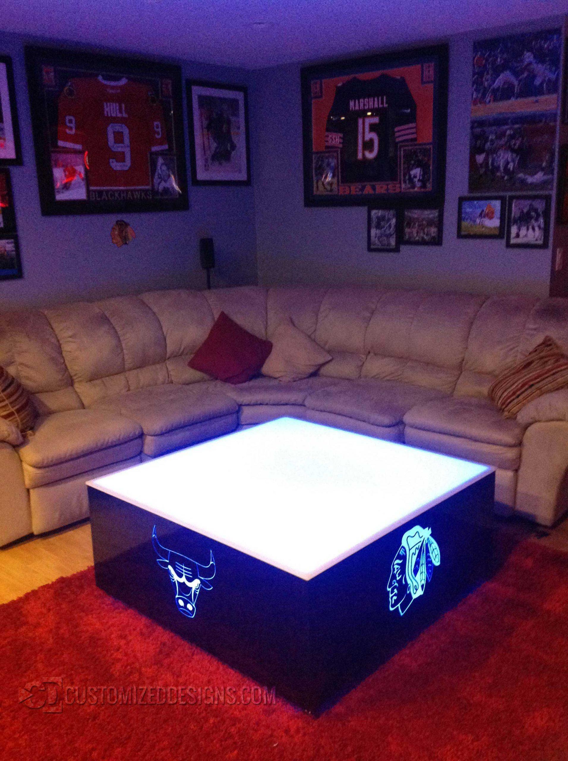 Chicago Home Bar Sports LED Table - Bulls - Blackhawks