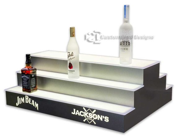 3 Tier 2 Sided Island Liquor Display w/ Stainless Finish