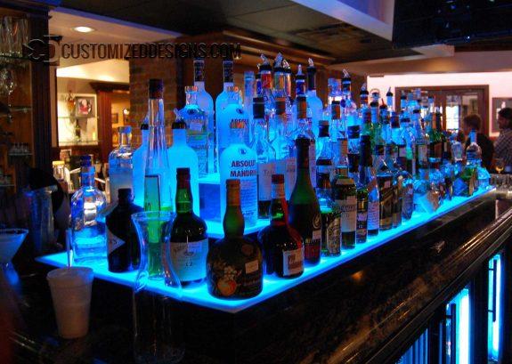3 Tier LED Lighted Island Bar Shelves