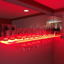 LED Wine Glass Shelving w/ Red Lighting