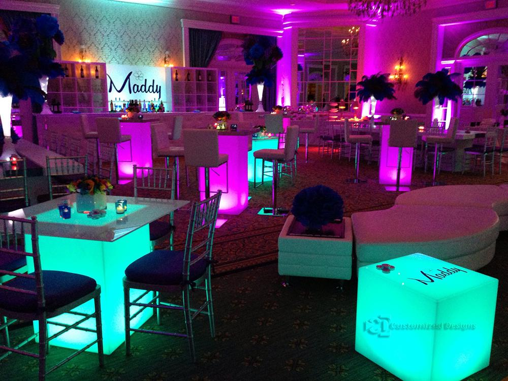 "30x30 Lumen LED Table Shown w/ 42"" Table Tops"