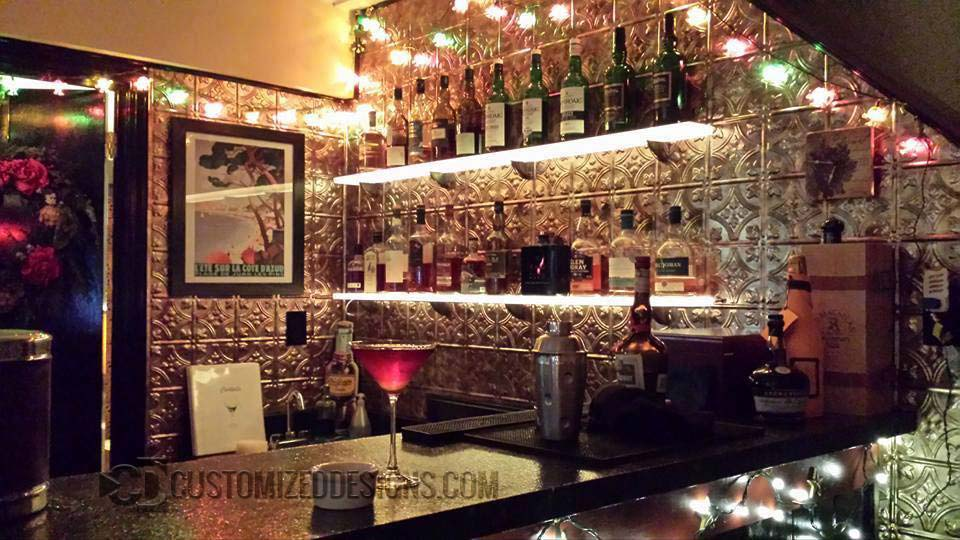 "Vintage Theme Home Bar w/ 4.5"" Shelves"