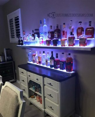 Wall Mounted Low Profile Liquor Shelves w/ Stainless Steel Finish