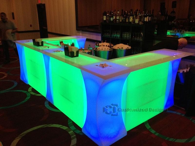 Curve LED High Boy Tables & Portable Dance Floor Bar