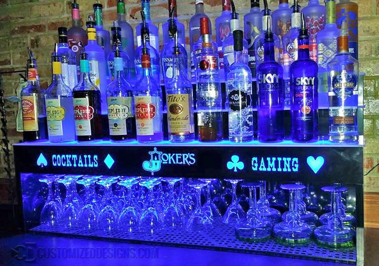 """4 Tier Liquor Shelving w/ 16"""" High Storage for Glasses"""