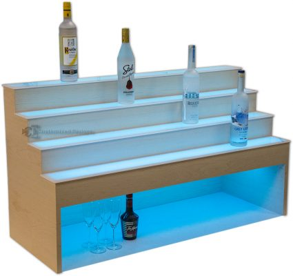 Raised Liquor Shelves w/ 10 inch High Storage for Glasses