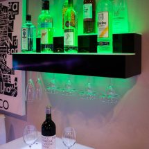 2 Tier Wall Mounted Bar Shelving with Wine Glass Rack