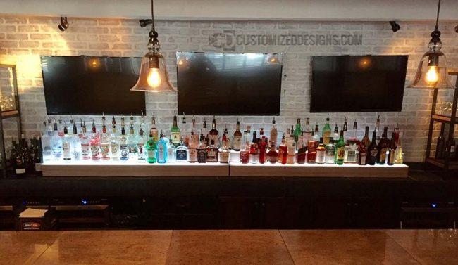 2 Tier Liquor Displays w/ Illustrious Maple Finish