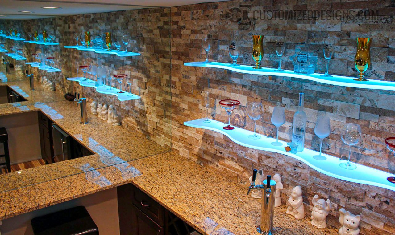 Curved LED Lighted Floating Shelves - Style A
