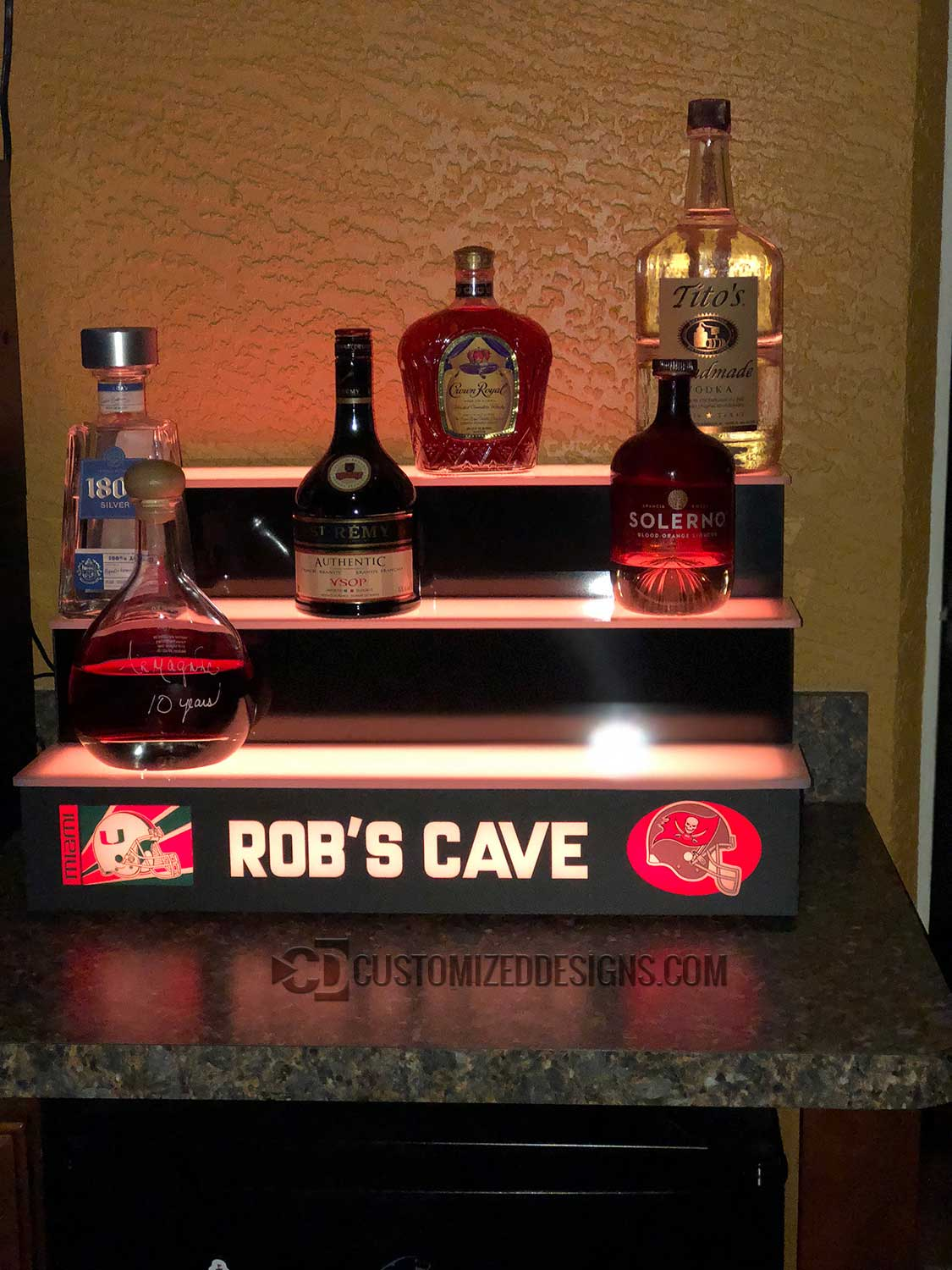 3 Step Home Bar Display - Miami Hurricans & Tampa Bay Buccaneers