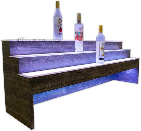 Raised 3 Tier Liquor Display with Barnwood Finish