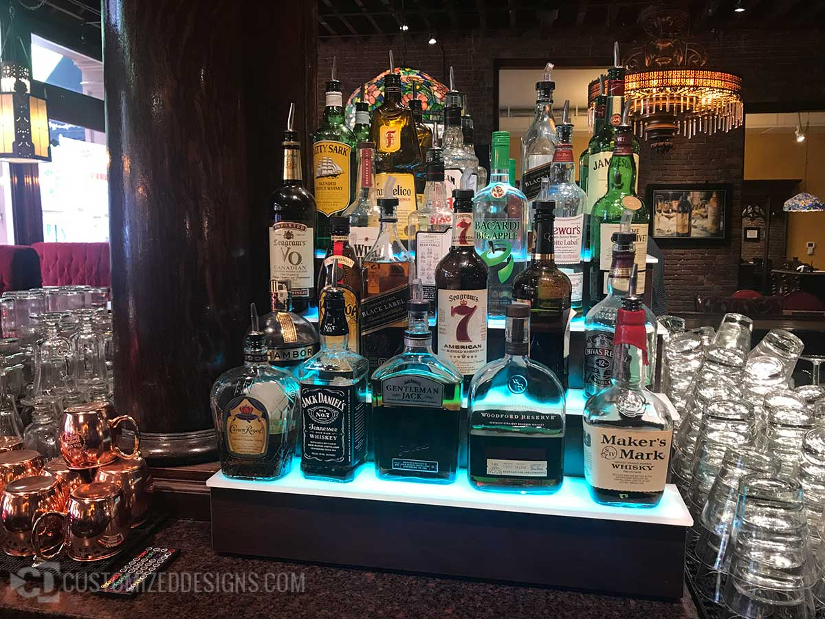 3 Tier Lighted Liquor Display Tiers