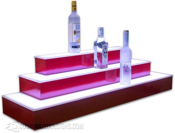 3 Tier Bar Shelving - Wrap - Red Finish