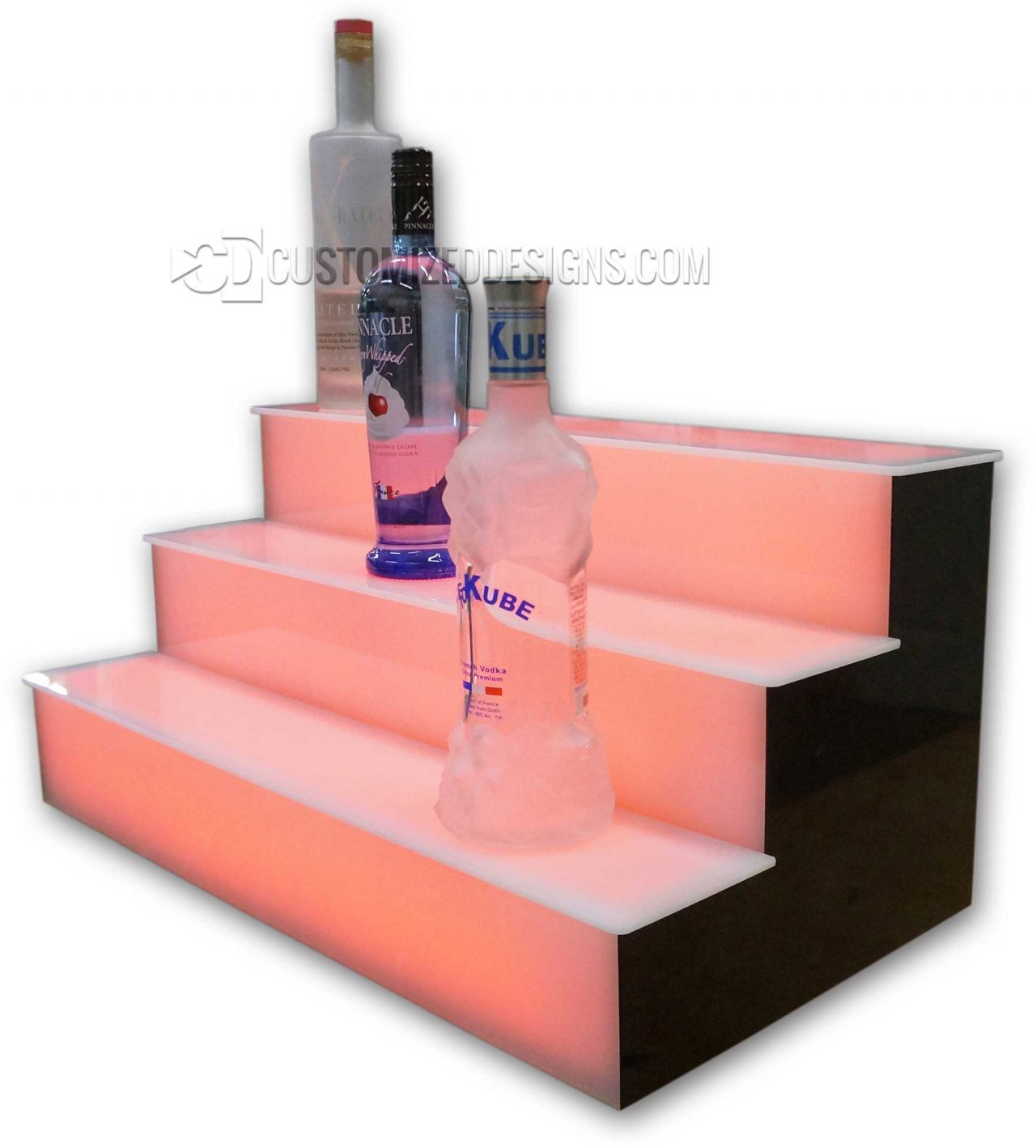 3 Tier Liquor Display w/ Acrylic Lighted Fronts