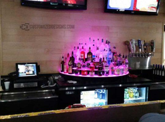 Circular 4 Tier Half Moon Back Bar Liquor Display