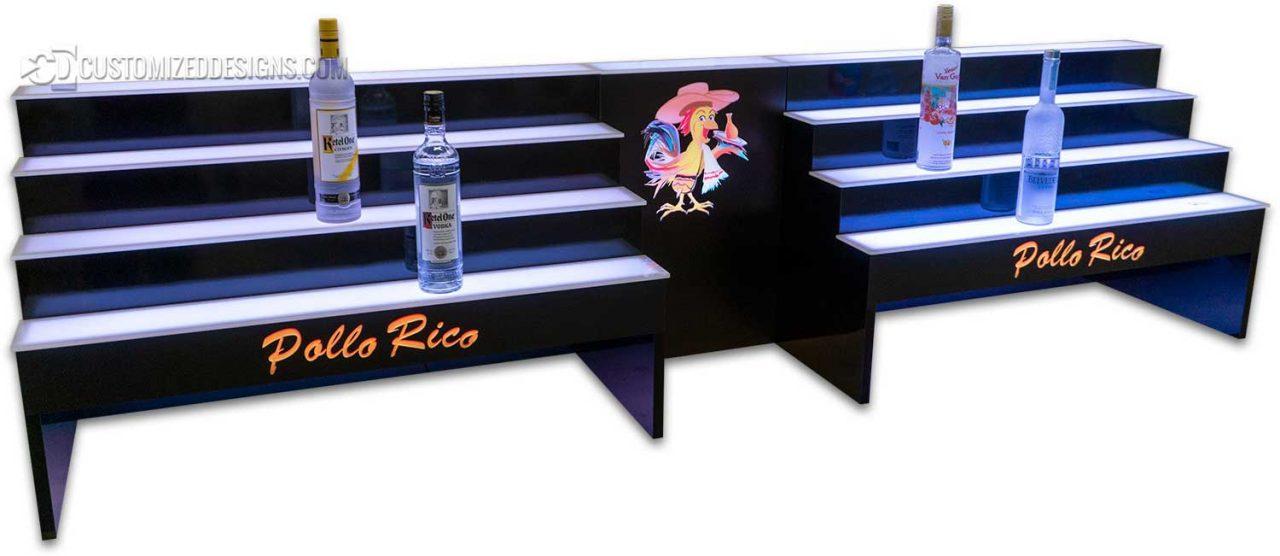 Custom 4 Tier Raised Liquor Display w/ Center Opening for POS and Logo
