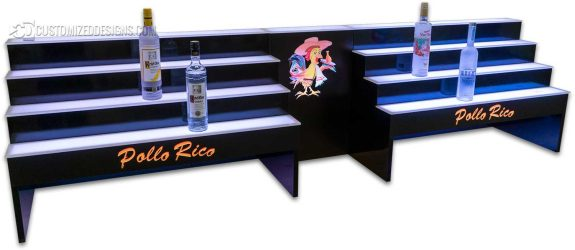 Custom 4 Tier Raised Liquor Display w/ Center Opening for POS and Logo
