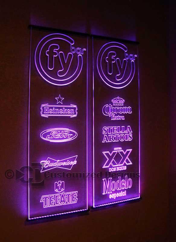 FY LED Edge Lit Sign w/ Beer Logos