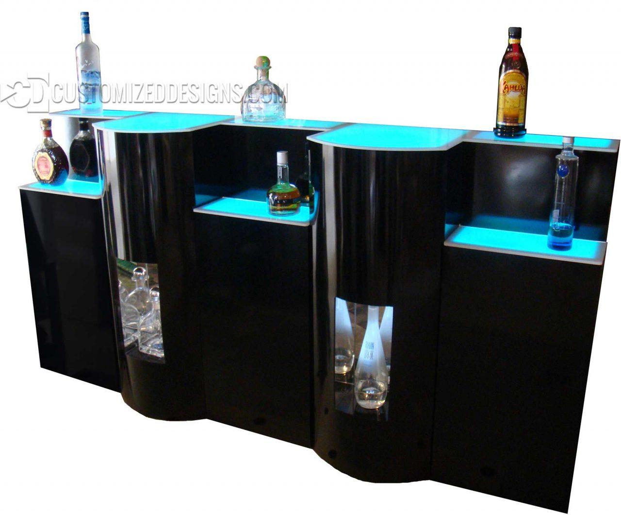 Custom LED Lighted Back Bar Cabinet