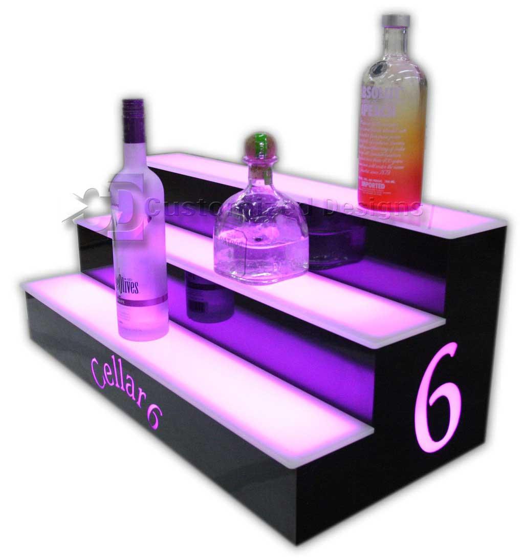3 Tier Liquor Display w/ Custom Lighted Side Logos