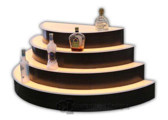 Custom Half Round Circular Liquor Bottle Display - 4 Tiers