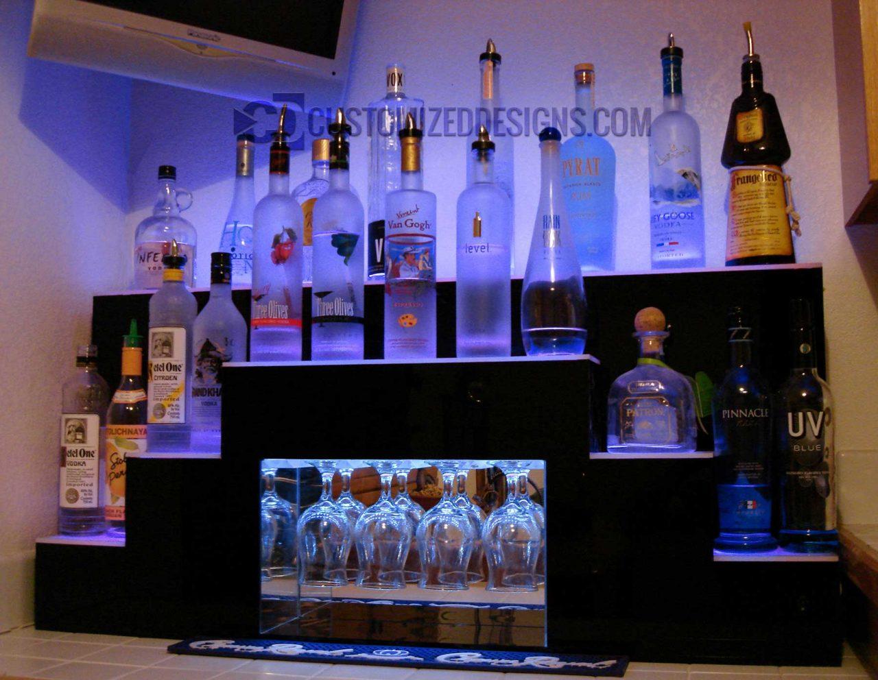 Custom Pyramid Style Lighted Back Bar Display