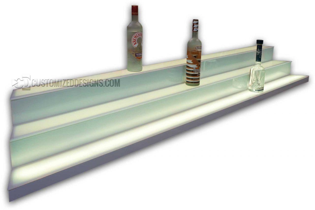 Custom Angled Three Tier Liquor Display w/ White Finish