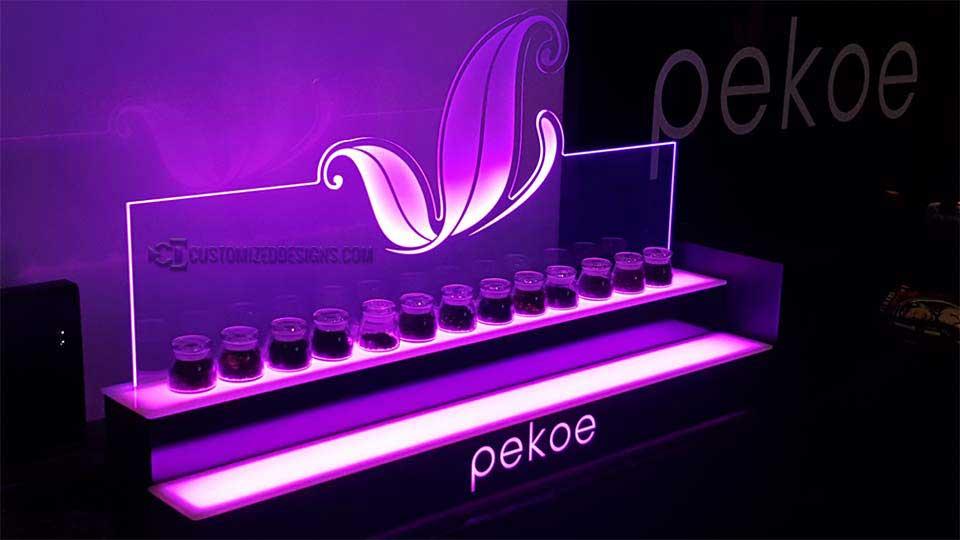 Pot Cannabis Jar Display Tiers w/ Edge Lit Panel