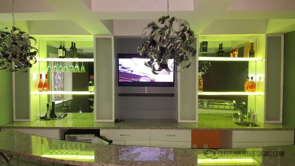 Home Back Bar Mirror w/ Lighted Wine Glass Shelving