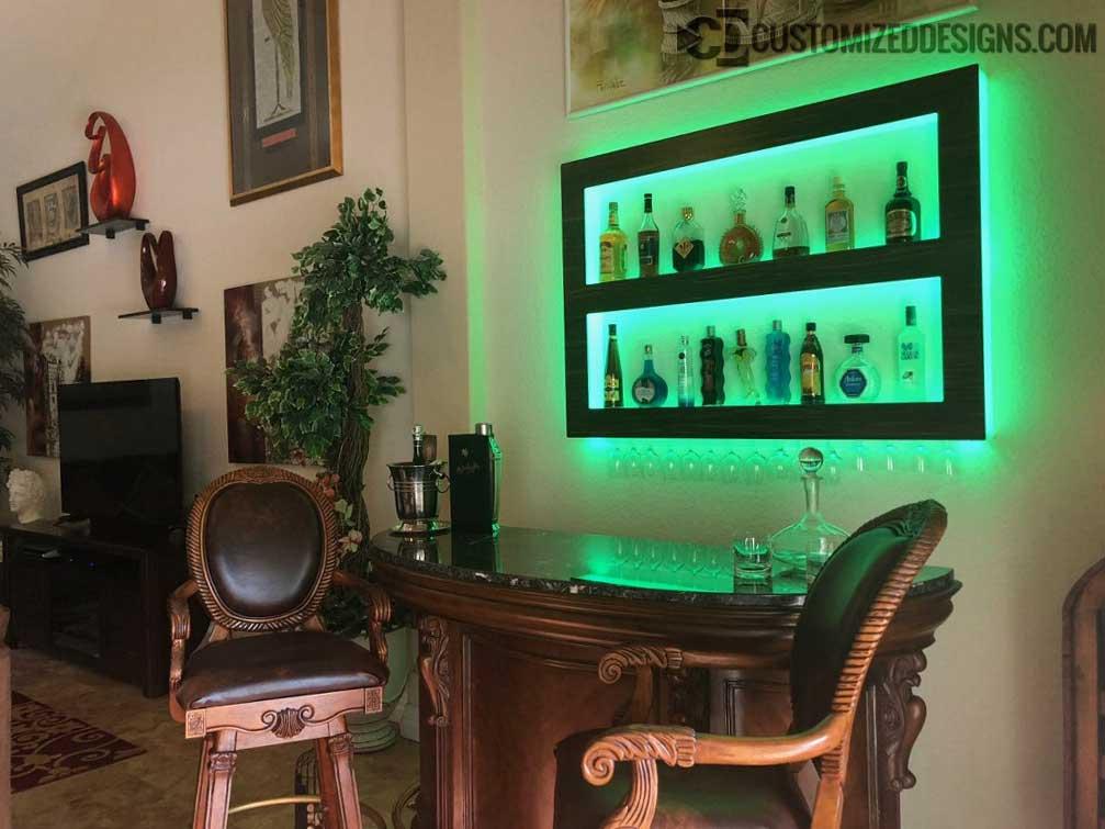 Lighted Home Bar Wall Shelving