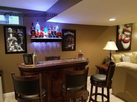 Mobster Themed Home Bar w/ 2 Tier Wine Glass Display