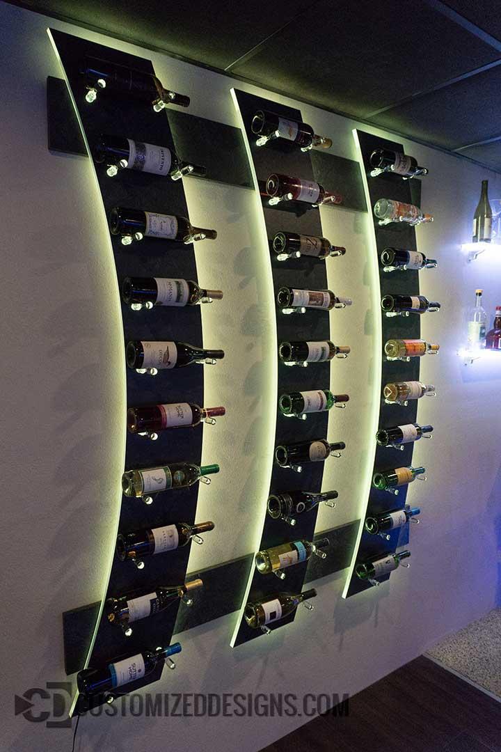 Wall Mounted Wine Bottle Display